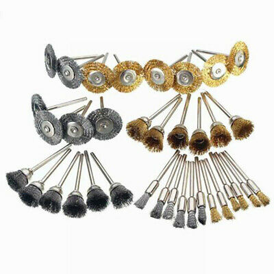 36x Brass Steel Wire Brush Polishing Wheels Full Kit for Rotary Tool