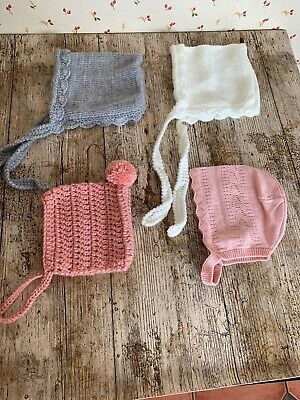 Baby Bonnets. 4 Items. 0-3 Months. Brand New.