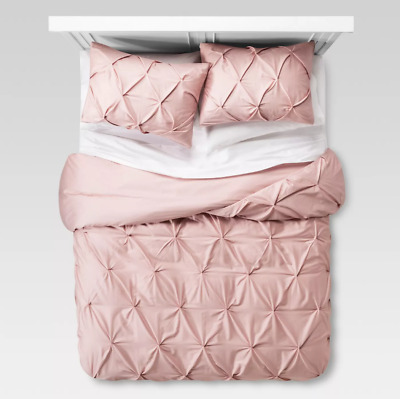 Blush Pink Duvet Cover With Pillowcase 100% Cotton Bedding Set Double Super King