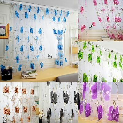 1/2 Panel Floral Sheer Voile Window Curtains Drape Room Door Divider Tulle Scarf