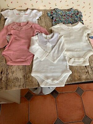 Bodysuits With Collars. 0-3 Months. 5 Items. New.
