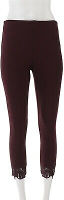 Kelly Clinton Kelly Petite Ponte Ankle Pants Lace Burgundy PS NEW A343676