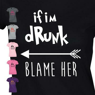If I/'m Drunk Blame Her Iron On T Shirt Transfer Bride Tribe Hen Party Do Vinyl