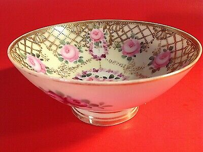 Antique Nippon Pedestal Bowl. Thick Beaded Gold Hand Painted 1891-1911 Floral