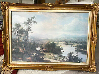 """Large Antique Gold Framed Lithograph Print """"The River""""  43""""x 31"""" Hope Collection"""