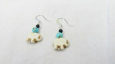 Handmade Sterling Silver Plated dangle earring, glass beads, black, turquoise