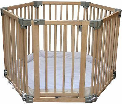 Clippasafe Natural Wooden Playpen With Mat Baby Home Safety -BN