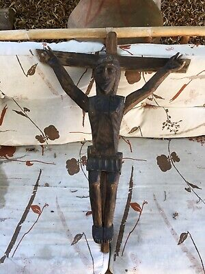 JESUS christ wood crucifix antique old wood nails hand carved folk art RARE  VTG