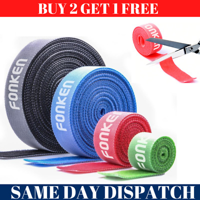 Reusable Cable Ties Nylon Zip Tie Wraps Strong Tape 1m Long Hook Loop 4 Colours