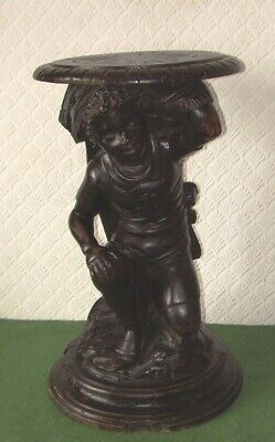 ANTIQUE TABLE CARVED WOODEN BLACKAMOOR NEGRO BOY FIGURE VICTORIAN circa 1880