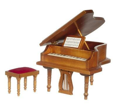 Dolls House Walnut Grand Piano & Bench Stool Miniature Music Room Furniture