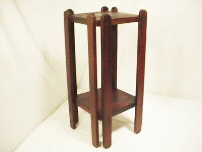 """Vtg Wooden Arts and Crafts Mission Plant Stand Side End Table Antique 19"""" High"""