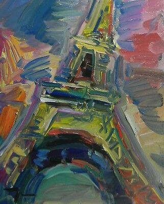 Jose Trujillo Oil Painting Impressionism Abstract Eiffel Tower Paris France Coa