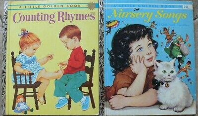 """2 Vintage Little Golden Books ~ COUNTING RHYMES, NURSERY SONGS ~ """"A"""" Very Good!"""