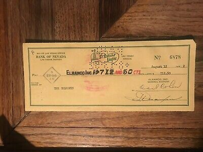 El Rancho Vegas Hotel Canceled Check To The Belmonts Signed John Belmont 1952