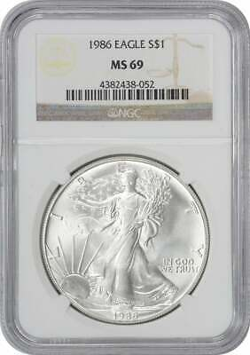 1986 American Silver Eagle Dollar MS69 NGC Mint State 69
