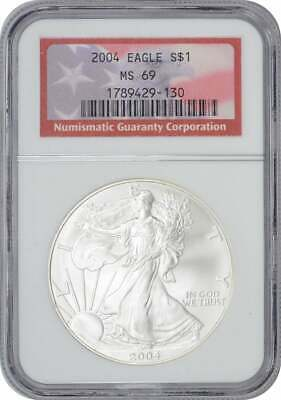 2004 American Silver Eagle Dollar MS69 NGC Mint State 69