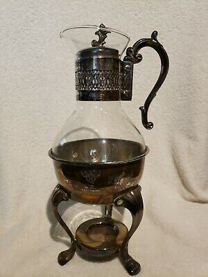 Vintage Glass And Metal Coffee Pot Warmer On Silver Plate Base