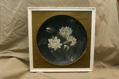ça 1885 Hand Painted Water Lilly Bowl Gutta-Percha or Laquerware in 20th C Frame