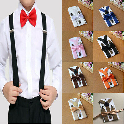 AU Adjustable Suspender and Bow Tie Set for Baby Toddler Kids Boys Girls Child