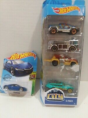 Hot Wheels 2019 CITY 5 Pack #FYL24 FIRE EATER Tour De Fast Off Duty DAMAGED PACK