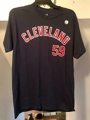 Carlos Carrasco #59 Majestic Mlb Cleveland Indians Name/Number Navy T-Shirt Nwt