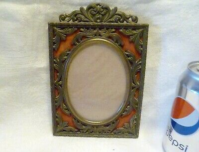 VINTAGE Italy CAST METAL Filigree PICTURE FRAME Easel Photo ACTION
