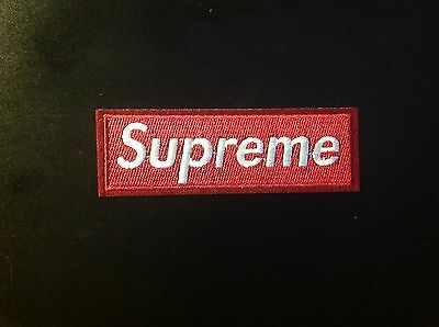 """4.5"""" SUPREME IRON ON PATCH WINE RED COLOR Embroidered FREE SHIPPING USA SELLER!!"""