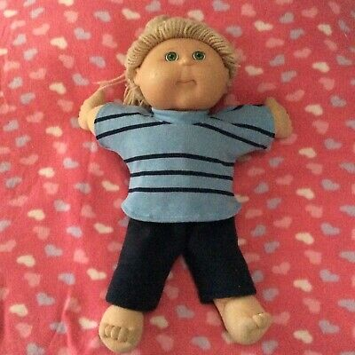 """DOLLS CLOTHES TO FIT 16"""" BOY CABBAGE PATCH DOLL -  2 Piece Set : Blue : Stripes"""