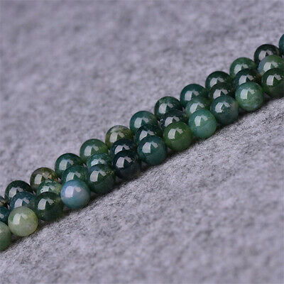 4-12mm Natural Moss Agate Loose Beads Diy Accessories Handmade Shining Craft