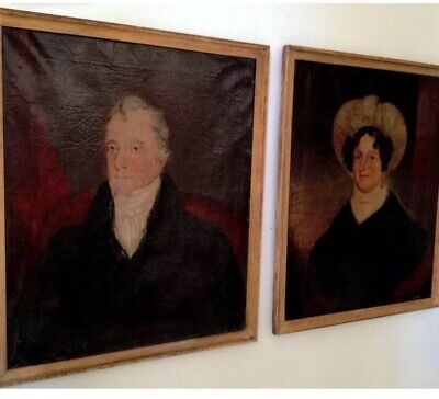 Rare Mated Pair Antique Early 19th Century Oil Portrait Paintings. 1805-1815
