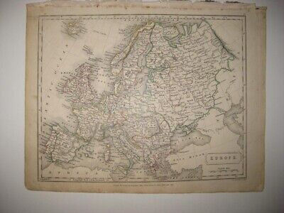 Superb Antique 1826 Europe Handcolored Map Prussia Russia Germany No Poland Nr
