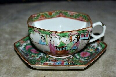 Beautiful Antique Chinese Rose Medallion Six Sided Teacup & Saucer – Rare