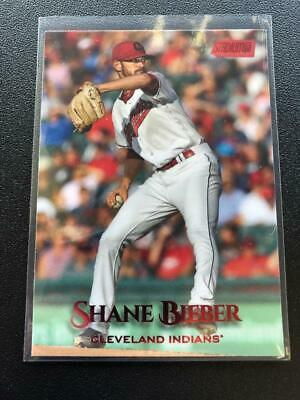Shane Bieber 2019 Stadium Club Red Parallel #72 Indians (says Justin back) Tat3