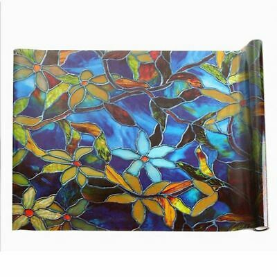 Home Static Cling Cover Stained Flower Privacy Window Glass Film 45CM*1M De G3L5