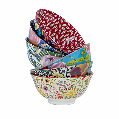 Cooper & Co 6 PCs Floral Ceramic Bowls Set Salad Food Tableware Round Rice