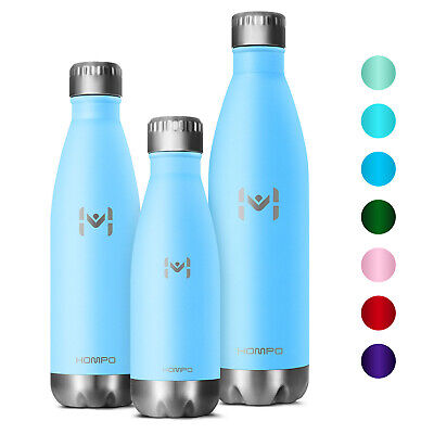 HOMPO Water Bottle Double Walled Vacuum Insulated Stainless Steel Drink Bottle