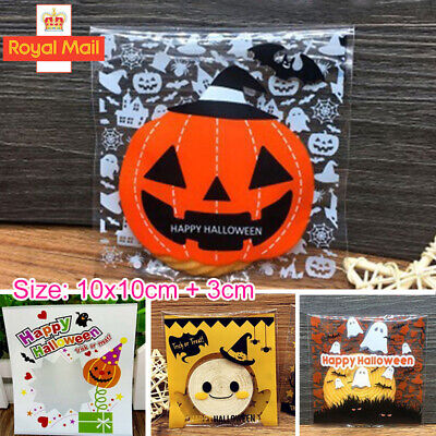 100 X Halloween Self Adhesive Treat Candy Cookies Bags Favor Cello Cellophane  W