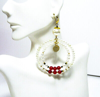 Red White Vintage Pearl Large Double Hoop Earrings 3 inch Pierced or Clip On