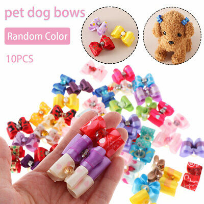 10PCS Mixed Small Dog Pet Puppy Cat Hair Accessory Bows Rubber Bands Grooming❤