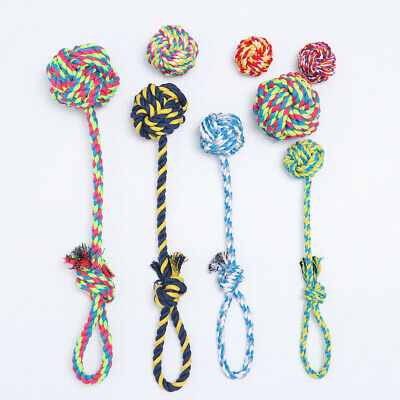 Interactive Bite Braided Cotton Dog Rope Toy Node Puppy Chew  Pet Teeth Ball