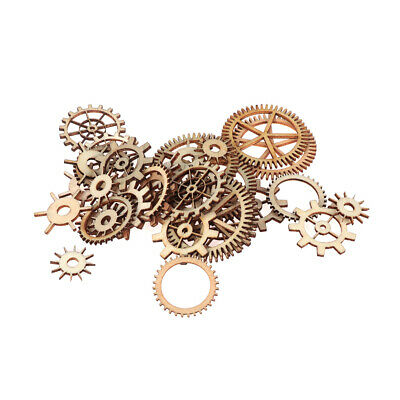 Steam Punk Mixed Wheel Gear Pattern Scrapbooking Wooden Craft Round Hollow