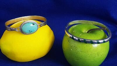 2 x Lovely Sterling Silver Mexico Bangle Bracelets incl Malachite & Turquoise