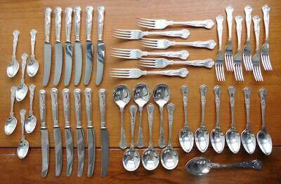 Kings Pattern Quality Sheffield EP Silver Cutlery Dinner Setting for Six 43 pcs