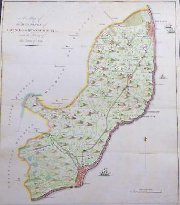 1778 HASTED KENT Map HUNDRED of CORNILO & BEWSBOROUGH Deal Dover Ringwold EWELL