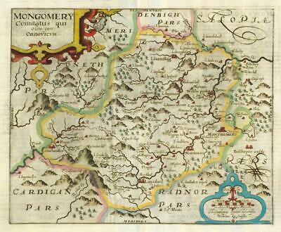 1607 - RARE 1st Edition Antique Map WALES MONTGOMERYSHIRE by Saxton Kip/Hole