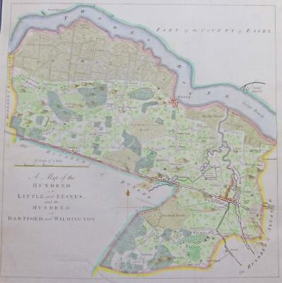1778 HASTED KENT Map HUNDRED LITTLE LESNES DARTFORD WILMINGTON Erith Plumstead
