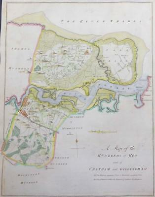 1778 HASTED KENT Map HUNDREDS of HOO CHATHAM GILLINGHAM Isle of Grain Alhallows