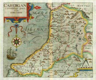 1607 - RARE 1st Edition Antique Map WALES CARDIGANSHIRE by Saxton Kip/Hole