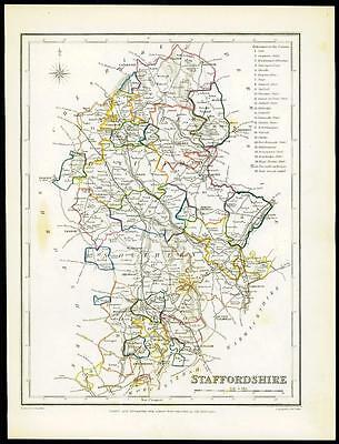 1845 Original Antique Map of STAFFORDSHIRE by Lewis & Co